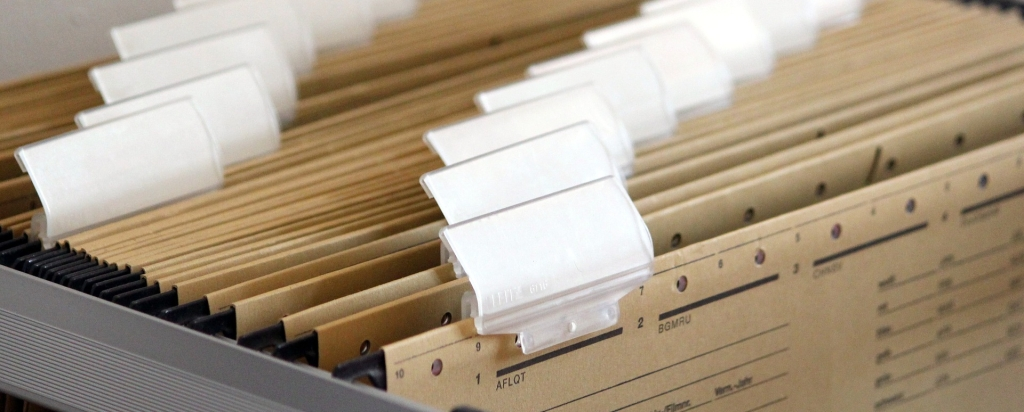 hanging files with blank tabs